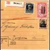 Bayern 1919, 4 Marken vorder- u. rücks. auf Einschreiben Paketkarte v. WÜRZBURG