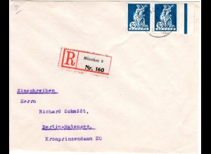 Bayern 1920, MeF Paar 30 Pf. auf portorichtigem Einschreiben Brief v. München 6