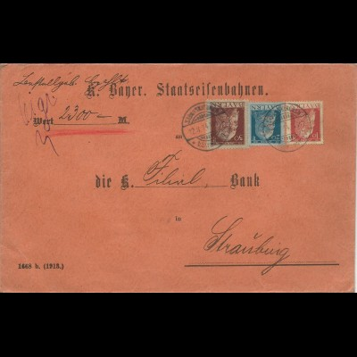 Bayern 1914, 10+20+50 Pf. E-Lochung auf Eisenbahn Wert Brief Strasskirchen. #915