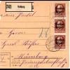 Bayern 1920, MeF 3x50 Pf. Freistaat auf Paketkarte v. VELBURG
