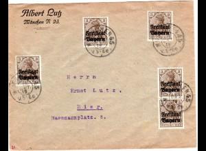 Bayern 1919, MeF 5x3 Pf. Germania Freistaat auf Firmen Orts-Brief v. München 45