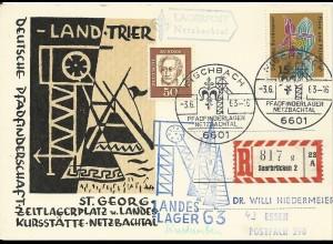 BRD 1962, Pfadfinder Lagerpost Netzbachtal Einschreiben Kte. v. Fischbach. #2681