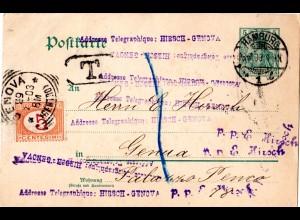 DR 1903, unterfrankierte 5 Pf. Ganzsache v. Hamburg m. Italien Portomarke
