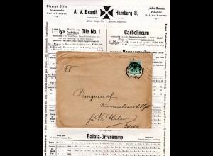 DR 1896, 5 Pf. auf Drucksache Brief v. Hamburg n. DK m. interessantem Inhalt