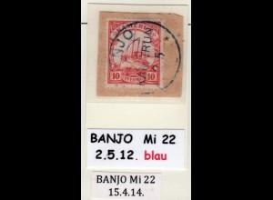 Kamerun, 10 Pf. auf Briefstück m. blauem Stempel BANJO