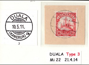 Kamerun, 10 Pf. auf Briefstück m. besserem Stempel DUALA (KAMERUN) a.