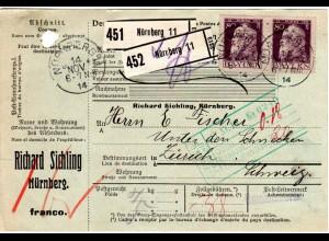 Bayern 1914, Paar 80 Pf. auf Paketkarte v. Nürnberg 11 i.d. Schweiz (Kat. 170.-)