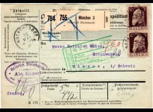 Bayern 1912, Paar 80 Pf. Type 1 auf Paketkarte v. München i.d. CH (Kat. 250.-)