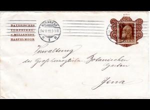 Bayern 1913, 3 Pf. Reklame Brief v. Nürnberg ab Torf-/Mullwerk HASPELMOOR