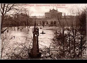 Göttingen, Überschwemmung 1909 mit Bahnhof, ungebr. sw-AK