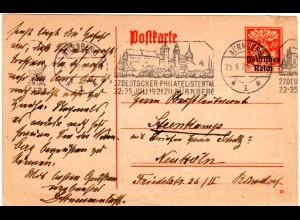 DR 1921, Maschinen Stpl. Nürnberg 27. Dt. Philatelistentag auf 15 Pf. Ganzsache