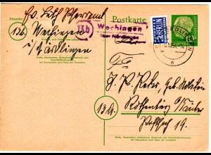 BRD 1954, viol. Landpost Stpl. 13b WECHINGEN über Nördlingen auf Ganzsache