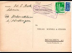BRD 1951, Landpost Stpl. 13b HOHENALTHEIM über Nördlingen auf Karte m. 10 Pf.