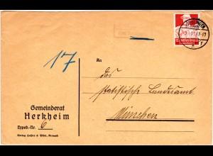 1935, Landpost Stpl. HERKHEIM über Nördlingen auf Gemeinderats Brief m. 12 Pf.