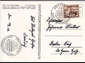 DR 1938, Sonder Stpl. Briefmarkenausstellung Stuttgart auf Karte m. 3 Pf. WHW