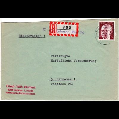 BRD, 1,90 M. auf Brief m. eingestempeltem 5204 LOHMAR Reko-Zettel