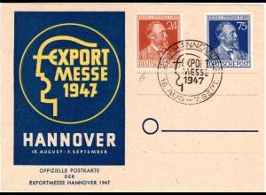 1947, Exportmesse Hannover Sonderkarte m. entsprechendem Sonderstempel