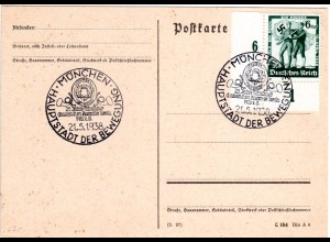 DR 1938, Karte m. Sonderstempel 25 Jahre Münchner Ganzsachen Sammler Verein