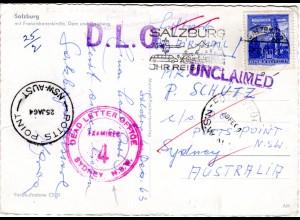 Österreich 1963, Unclaimed, DLO u. Dead Letter Office Sydney, Karte v. Salzburg