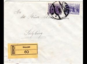 Österreich 1933, 2 Marken auf Einschreiben Brief v. STROBL