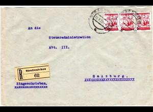 Österreich 1928, MeF 3er-Streifen 15 G. auf Einschreiben Brief v. STRASSWALCHEN