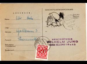 Österreich 1958, 50 Gr. Portomarke auf Karte v. STIXNEUSIEDL n. Maria Ellend.
