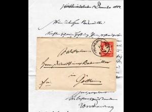 Bayern 1882, Pfalz-K1 KIRCHHEIMBOLANDEN auf schönem kl. Brief n. Göllheim