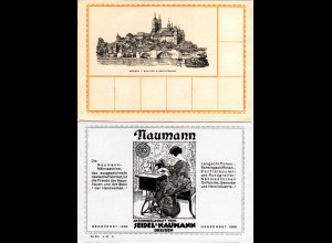 Meissen, Reklamekarte m. rücks. illustrierter Nähmaschinen Werbung