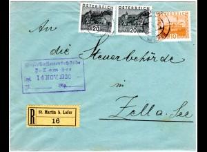 Österreich, 10+2x20 Gr. auf Einschreiben Brief v. St. Martin b. Lofer (Salzburg)