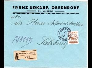 Österreich 1926, EF 45 Gr. auf Einschreiben Brief v. OBERNDORF b. SALZBURG