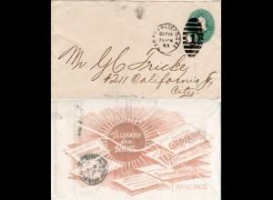 USA 1893, Tabak, Kaffee, Tee etc., rücks. Zudruck auf 1 C. Ganzsache Brief