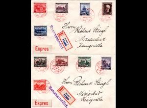 Tschechoslowakei 1928, 10 Jahre Republik, alle 10 Werte kpl. auf 2 Reko Briefen