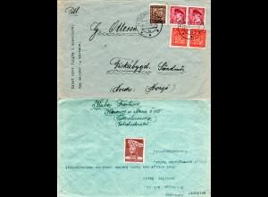 Tschechoslowakei 1938, 5 Marken auf Brief v. KRENOVICE n. Fiskabygd, Norwegen