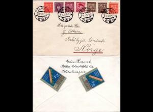 Tschechoslowakei 1938, 7 Marken auf Brief v. BELCICE n. Fiskabygd, Norwegen