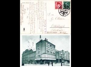 Tschechoslowakei 1938, 1 Kr.+50 H. auf AK v. PLZEN n. Norwegen