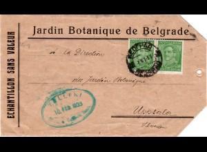 Jugoslawien 1933, 2x50 P. auf Briefteil Muster ohne Wert v. Beograd n. Schweden