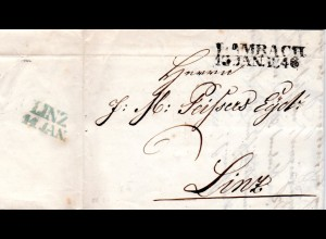 Österreich 1846, L2 LAMBACH auf Porto Brief n. Linz