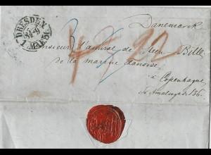 Sachsen 1856, K2 Dresden auf kleinem Porto Brief nach Dänemark. #2227