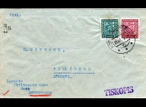 Tschechoslowakei, 25+30 H. auf Drucksache Brief v. Komerau n. Norwegen!