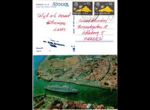 NL Antillen 1967, Paar 10 C. auf Luftpost-AK m. Curacao Harbour
