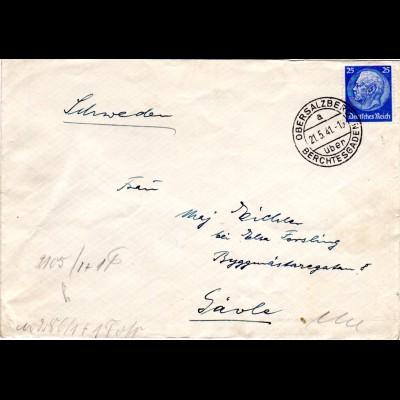 DR 1941, 25 Pf. auf Zensur Brief v. OBERSALZBERG über BERCHTESDADEN n. Schweden.