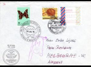 Papua/Australien Kombi-Frankatur auf Luftpost Brief m. turtle Briefmarke