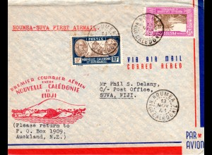 Nouvelle Caledonie 1941, Erstflug Brief NOUMEA-SUVA Fiji Inseln