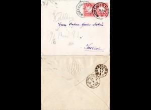Bayern 1891, 2x10 Pf. auf Brief v. Würzburg n. Schweden m. rs. Präge-Monogramm