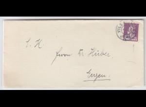 Bayern 1920, Brief v Vilsbiburg m 20 Pf Abschied, Plattenfehler F statt R. #1949