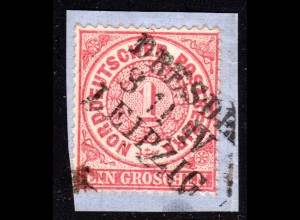 NDP 1 Gr. auf Briefstück m. Sachsen Bahnpost-L3 DRESDEN LEIPZIG