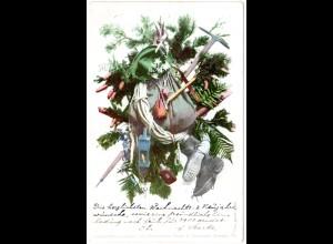 Weihnachts-Karte m. Tannengrün u. Bergsteiger-Ausrüstung, Farb-AK