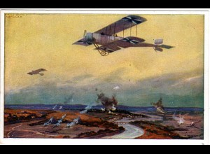 Deutsches Flugzeug an der Marne, ungebr. Farb-AK