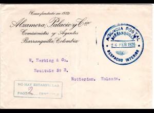 Kolumbien 1926, No Hay Estampillas Pago..., Franco-Stpl. Brief v. BARRANQUILLA