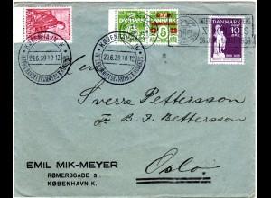 Dänemark 1939, 4 Marken auf Brief m. Stpl. Intern. Hadelskammers Kongress
